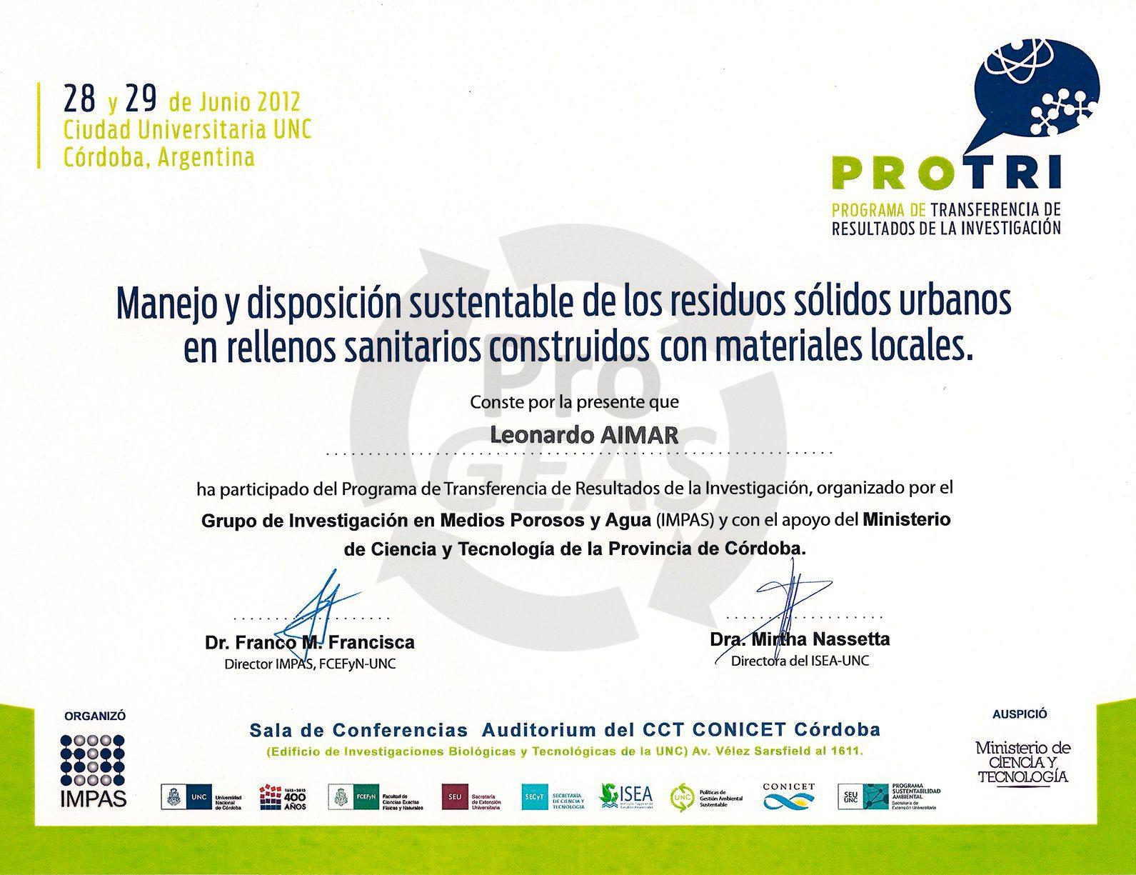 Certificado PROTRI - 2012
